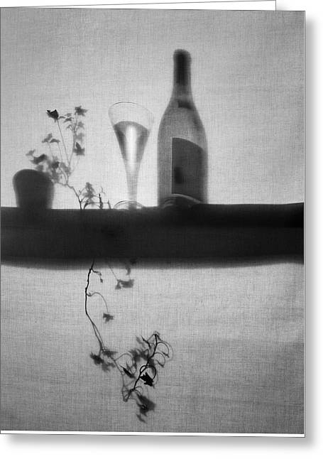 Wine-glass Greeting Cards - Wine Bottle and Glass  Black and White Greeting Card by Robert Wilson