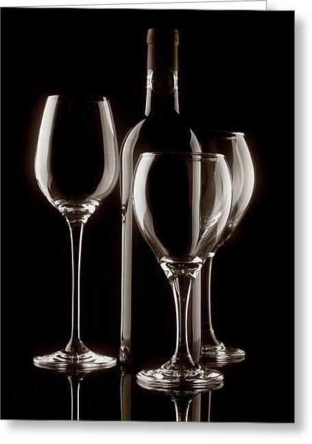 Winemaking Photographs Greeting Cards - Wine Bottle and Wineglasses Silhouette II Greeting Card by Tom Mc Nemar