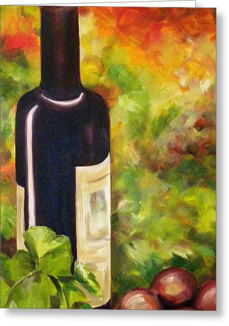 Vintage Wine Lovers Paintings Greeting Cards - Wine Bottle Greeting Card by Gale Patterson
