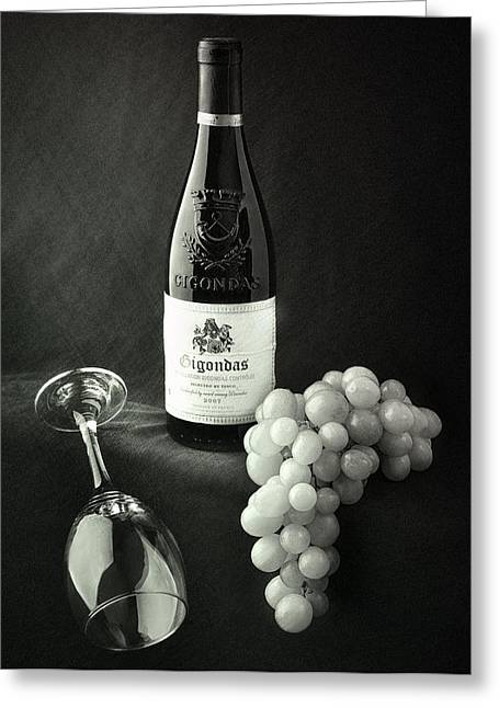 Glass Wall Greeting Cards - Wine Bottle Grapes and Glass Greeting Card by Ian Barber