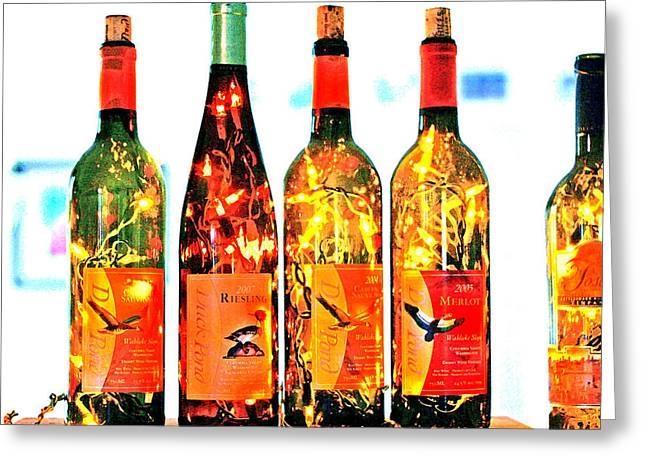 Wine-bottle Greeting Cards - Wine Bottle Lights Greeting Card by Margaret Hood