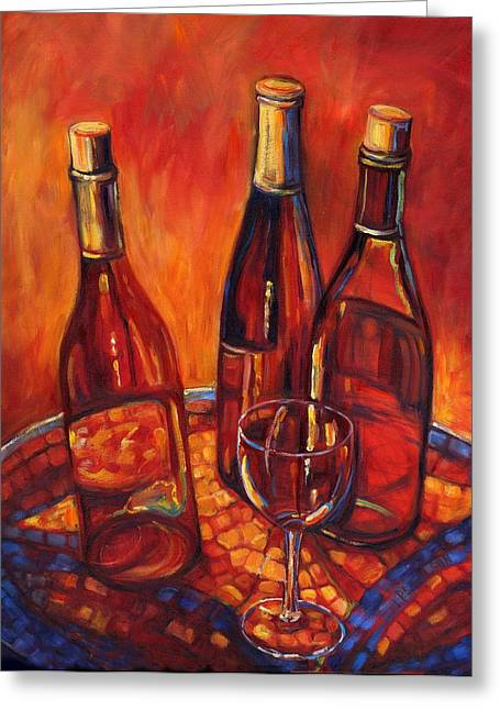 Mosiac Greeting Cards - Wine Bottle Mosaic Greeting Card by Peggy Wilson