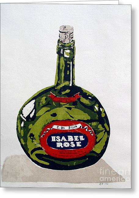 Silk Screen Greeting Cards - Wine Bottle Greeting Card by Ron Bissett