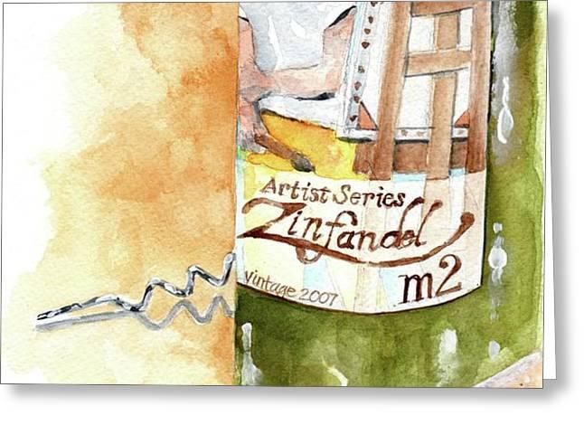 Wine Bottle Still Life- M2 Zinfandel Greeting Card by Sheryl Heatherly Hawkins