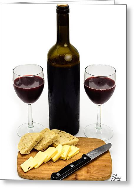 Red Wine Bottle Greeting Cards - Wine Bottle with Glasses, Cheese and Bread Greeting Card by Joshua Zaring