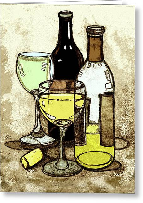 Wine Bottles And Glasses Greeting Card by Peggy Wilson