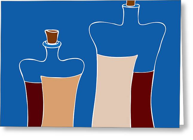Wine Bottles Greeting Card by Frank Tschakert