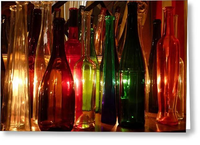 Winebottle Greeting Cards - Wine bottles Greeting Card by Humphrey Janga