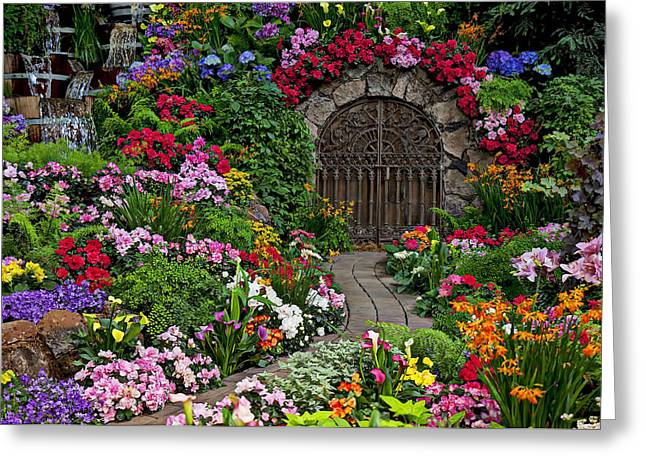 Garden Flowers Photographs Greeting Cards - Wine celler gates  Greeting Card by Garry Gay