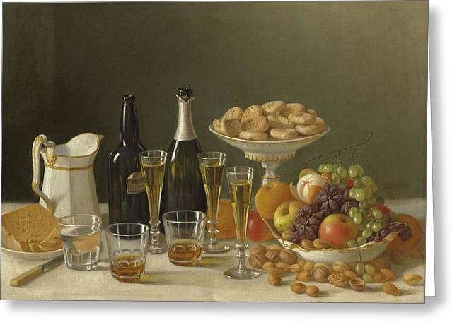 Wine, Cheese, And Fruit Greeting Card by John F Francis