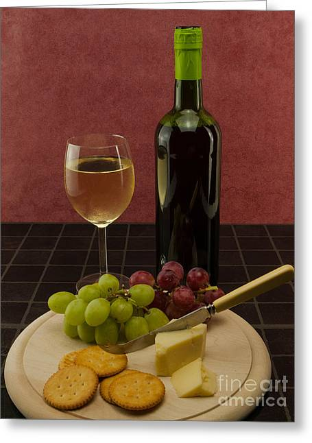 Red Wine Bottle Greeting Cards - Wine Cheese Biscuits And Grapes Greeting Card by F Helm