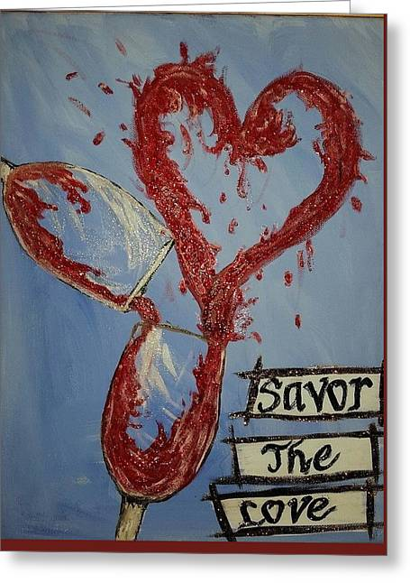 Wine Pouring Paintings Greeting Cards - Wine Greeting Card by Connie Hirst
