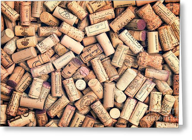 Written French Greeting Cards - Wine corks Greeting Card by Delphimages Photo Creations