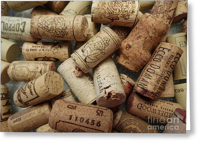 Red Wine Bottle Greeting Cards - Wine Corks Greeting Card by Gina Sullivan