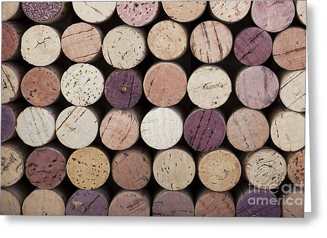 Purple Grapes Photographs Greeting Cards - Wine corks  Greeting Card by Jane Rix