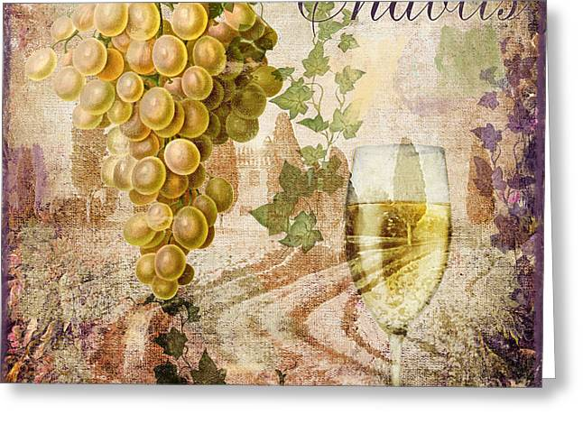 Glass Of Wine Paintings Greeting Cards - Wine Country Chablis Greeting Card by Mindy Sommers