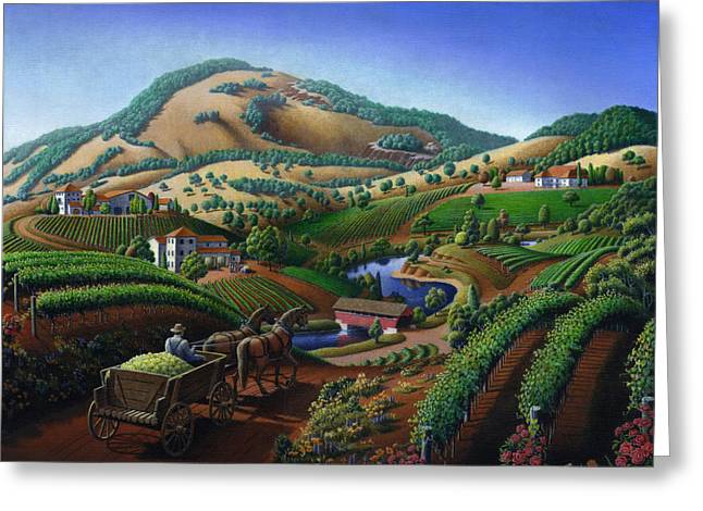 Viticulture Paintings Greeting Cards - Old Wine Country Landscape Painting - Worker Delivering Grape To The Winery - Vintage Americana Greeting Card by Walt Curlee