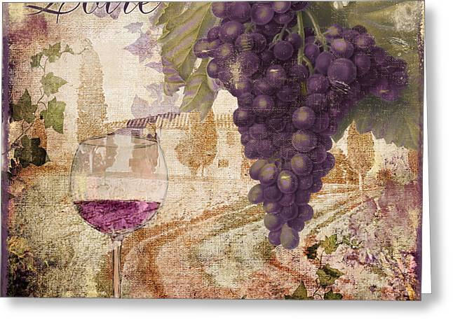 Glass Of Wine Greeting Cards - Wine Country Loire Greeting Card by Mindy Sommers