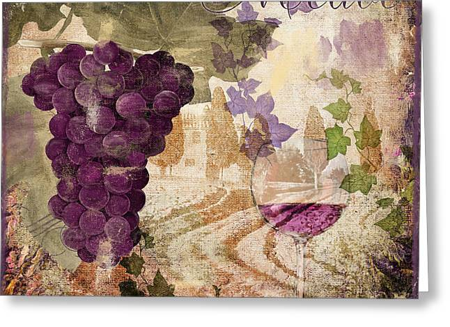 Glass Of Wine Greeting Cards - Wine Country Medoc Greeting Card by Mindy Sommers