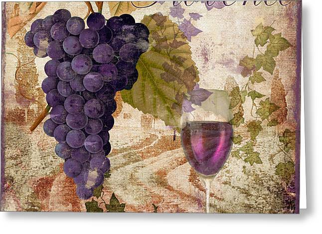 Glass Of Wine Paintings Greeting Cards - Wine Country Provence Greeting Card by Mindy Sommers