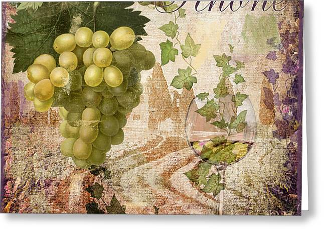 White Paintings Greeting Cards - Wine Country Rhone Greeting Card by Mindy Sommers
