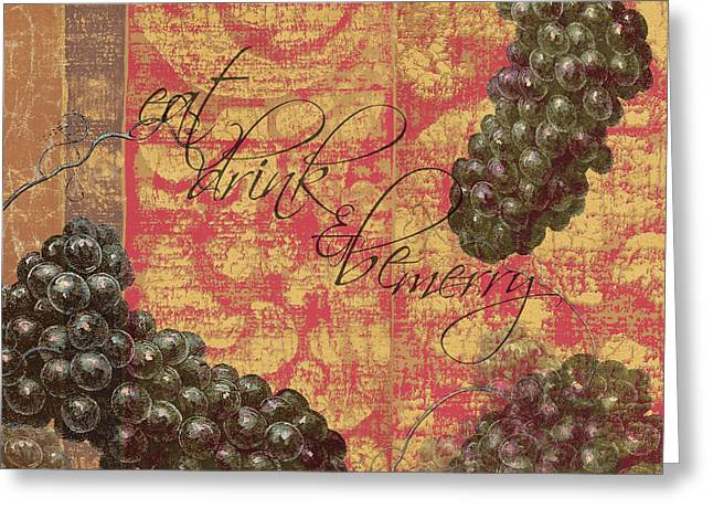 Vineyard Landscape Mixed Media Greeting Cards - Wine Damask Wall Art Greeting Card by Anahi DeCanio - ArtyZen Studios