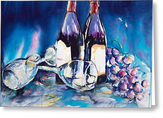 Wine Tour Paintings Greeting Cards - Wine for Two Greeting Card by Adam VanHouten