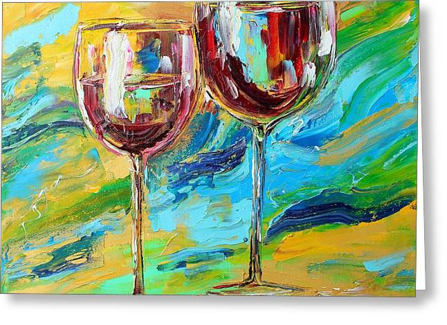Red Wine Prints Greeting Cards - Wine for Two Greeting Card by Karen Tarlton