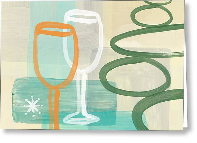 Bar Art Greeting Cards - Wine For Two Greeting Card by Linda Woods