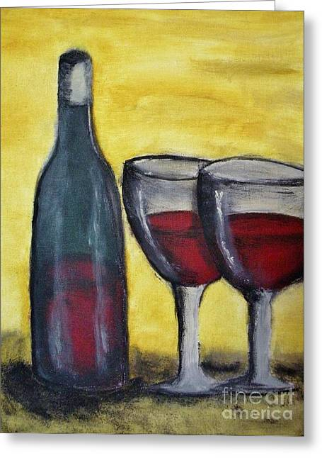 Wine For Two Greeting Cards - Wine for Two Greeting Card by Michael Stanley