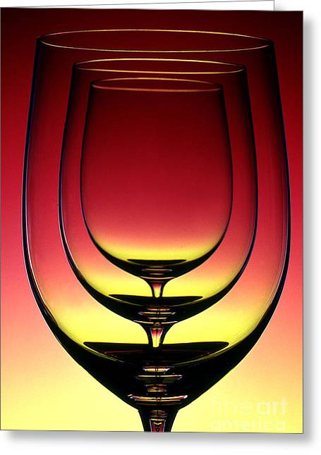Transparency Geometric Greeting Cards - Wine Glass 4 Greeting Card by Rich Killion