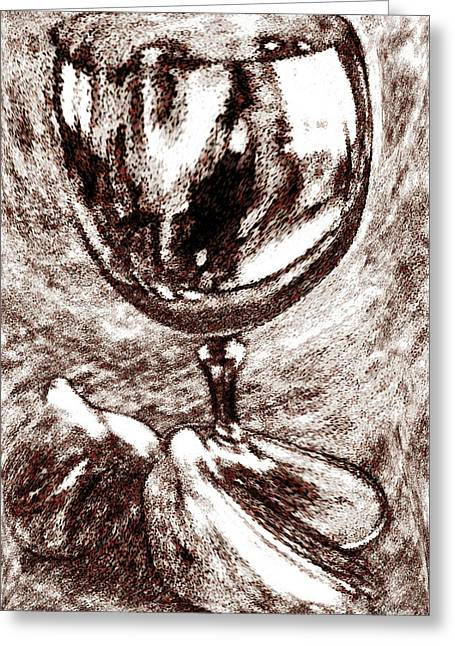 Sepia And Cream Greeting Cards - Wine Glass And Figs Still Life Greeting Card by Ben and Raisa Gertsberg