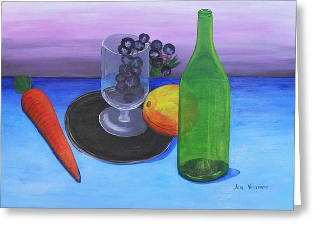 Wine glass and fruits Greeting Card by Jose Valeriano
