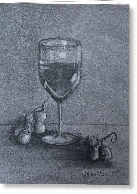 Grapevine Drawings Greeting Cards - Wine Glass and Grapes Greeting Card by Melanie Weber