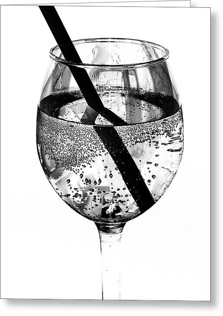 Fizz Greeting Cards - Wine Glass Fizz Greeting Card by Marion McCristall