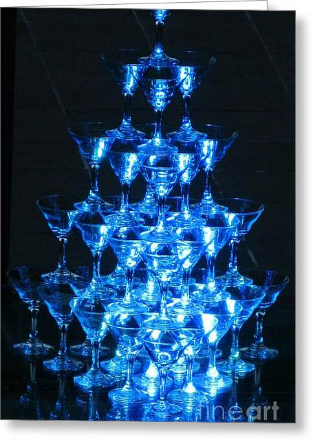 Wine Reflection Art Greeting Cards - Wine Glass Pyramid Greeting Card by Crystal Loppie