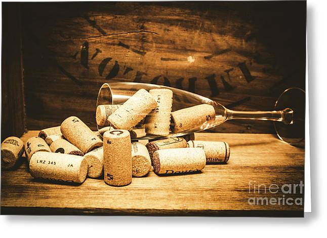 Wine Glass With An Assortment Of Bottle Corks Greeting Card by Jorgo Photography - Wall Art Gallery