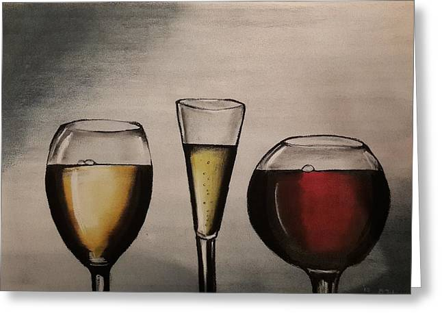 Champagne Glasses Pastels Greeting Cards - Wine Glasses Greeting Card by Bogumila Johnson