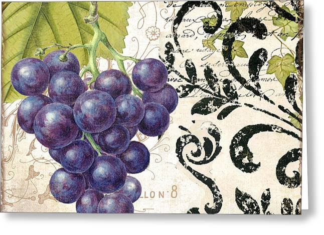 Wine Grapes And Damask Greeting Card by Mindy Sommers