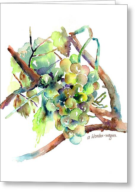 Grape Vines Greeting Cards - Wine Grapes Greeting Card by Arline Wagner