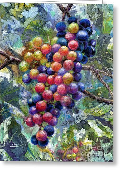 Blue Grapes Greeting Cards - Wine Grapes Greeting Card by Hailey E Herrera