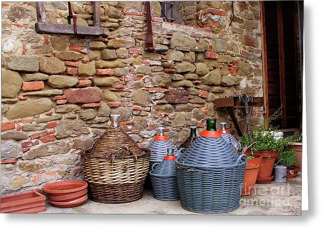Chianti Greeting Cards - Wine Jugs Greeting Card by Mary Capriole