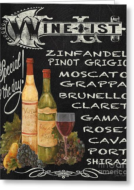 Wine List-jp3585 Greeting Card by Jean Plout