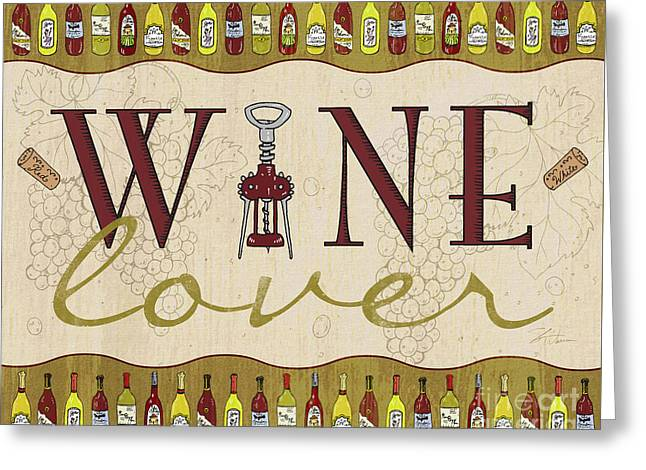 Red Wine Bottle Mixed Media Greeting Cards - Wine Lover Greeting Card by Shari Warren