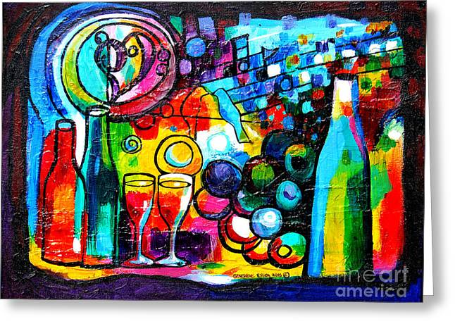Wine Menagerie Greeting Card by Genevieve Esson