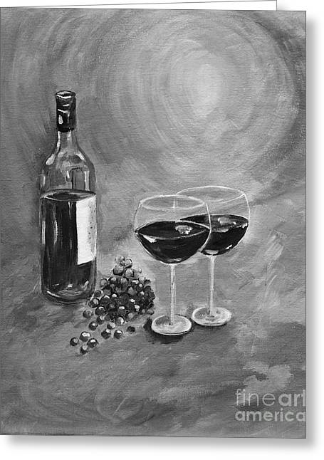 Images Of Wine Bottles Greeting Cards - Wine on my Canvas - Black and White - Wine for Two Greeting Card by Jan Dappen