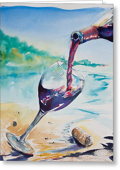 Wine Pour Greeting Cards - Wine on the Beach Greeting Card by Adam VanHouten