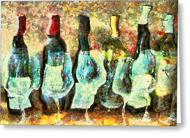 Marilyn Sholin Mixed Media Greeting Cards - Wine on the Town Greeting Card by Marilyn Sholin