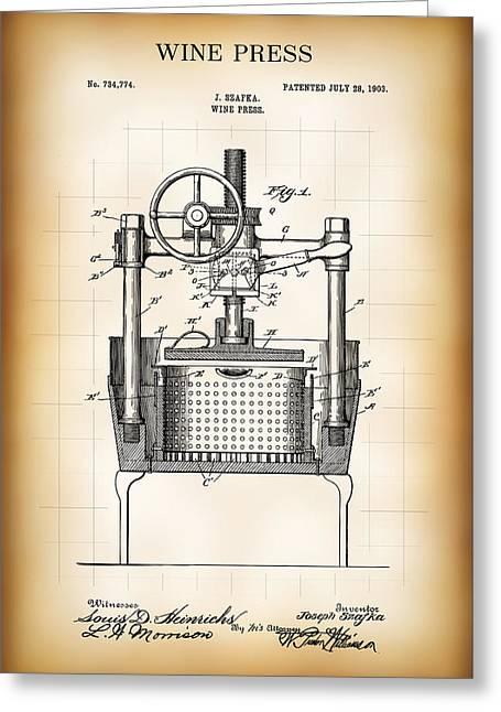 Wine Press Patent  1903 Greeting Card by Daniel Hagerman