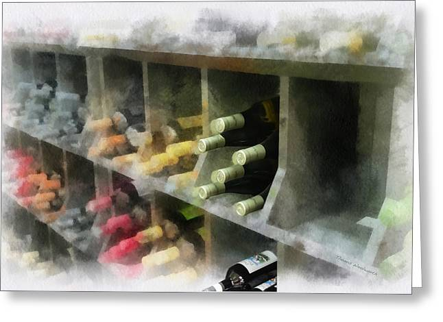 Cellar Mixed Media Greeting Cards - Wine Rack Mixed Media 01 Greeting Card by Thomas Woolworth